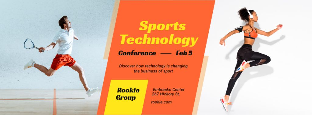 Template di design Sports Conference Announcement People Training Facebook cover
