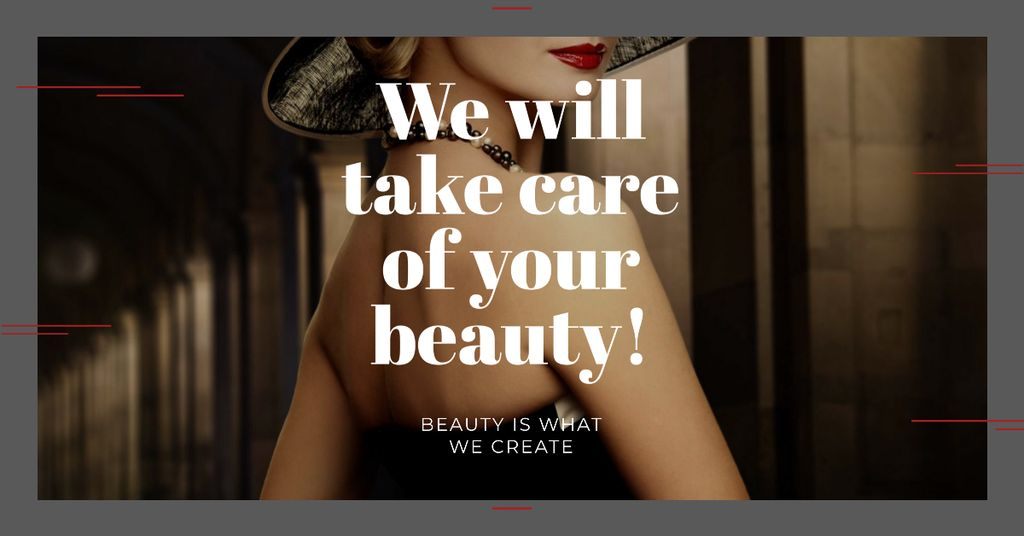 Citation about care of beauty Facebook AD Design Template