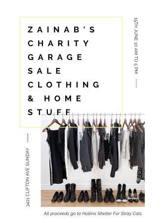 Charity Sale announcement Black Clothes on Hangers Poster USデザインテンプレート