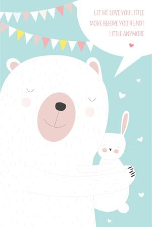 Family Relations Theme with Bunny Hugging Bear Pinterest Modelo de Design