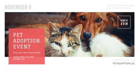 Plantilla de diseño de Pet Adoption Event Dog and Cat Hugging Image
