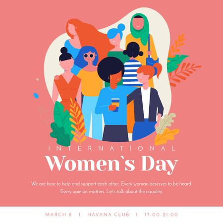 Diverse and supportive women Animated Post Modelo de Design