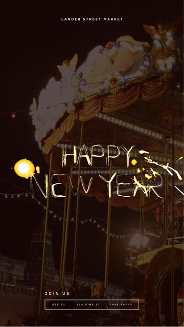 Modèle de visuel Vintage carousel at night on New Year Eve - Instagram Video Story