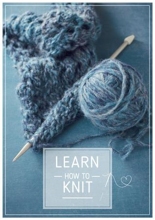 Knitting Workshop Needle and Yarn in Blue Poster Tasarım Şablonu
