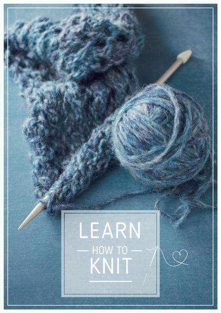 Knitting Workshop Needle and Yarn in Blue Poster – шаблон для дизайну