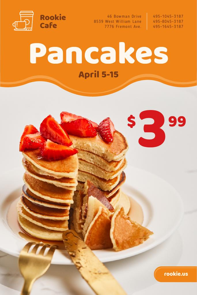 Cafe Promotion with Stack of Pancakes and Strawberries — Create a Design