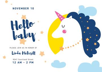 Baby Shower Invitation Magical Unicorn | Postcard Template