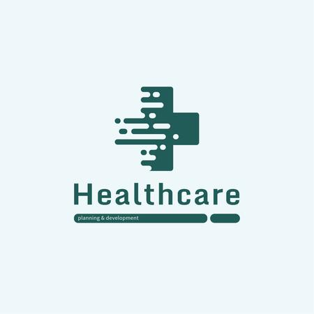 Healthcare Clinic with Medical Cross Icon Logo Modelo de Design