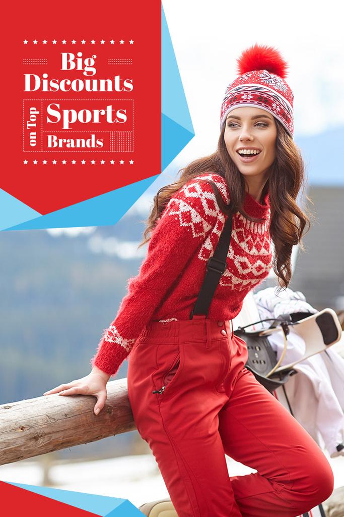 Woman in Bright Red Outfit — Crear un diseño