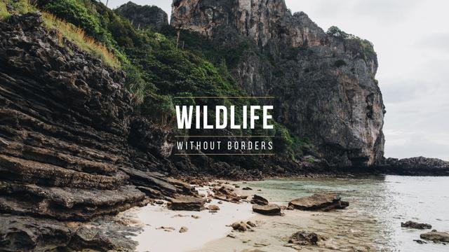 Szablon projektu Wildlife Landscape with Scenic Rock Presentation Wide