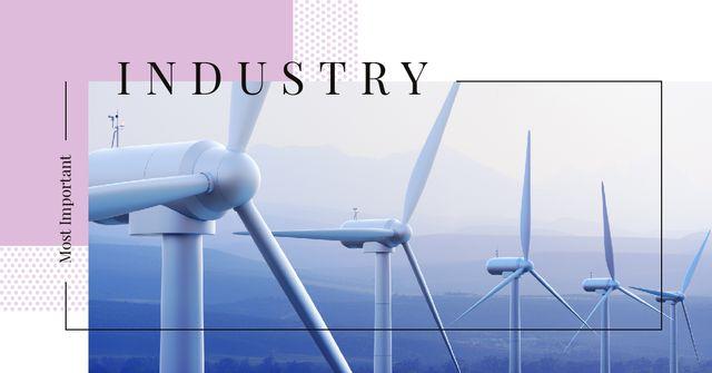 Eco Energy Industry Wind Turbines Farm Facebook ADデザインテンプレート