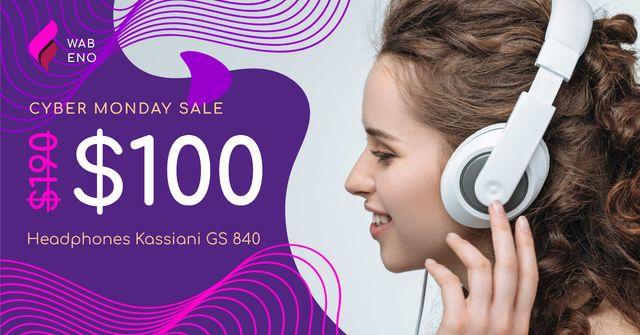 Cyber Monday Sale Woman in Headphones Facebook AD Tasarım Şablonu