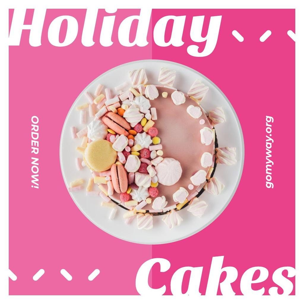 Ontwerpsjabloon van Instagram van Bakery Promotion Sweet Pink Cake
