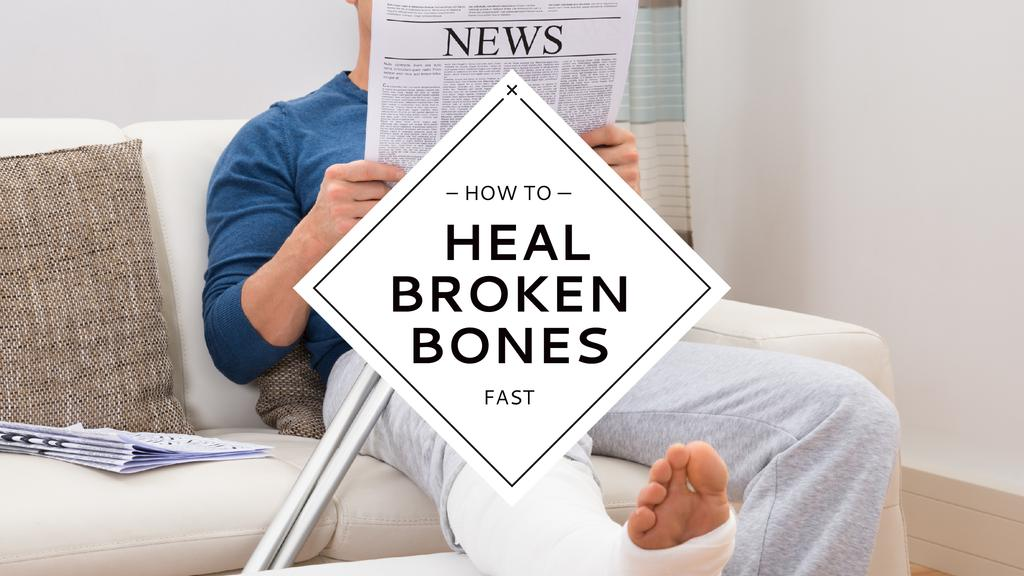 Man with broken bones sitting on sofa reading newspaper — Create a Design