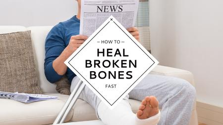 Designvorlage Man with broken bones sitting on sofa reading newspaper für Youtube