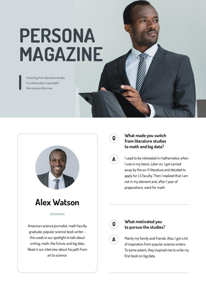 Magazine Article about Science Journalist Newsletter Design Template