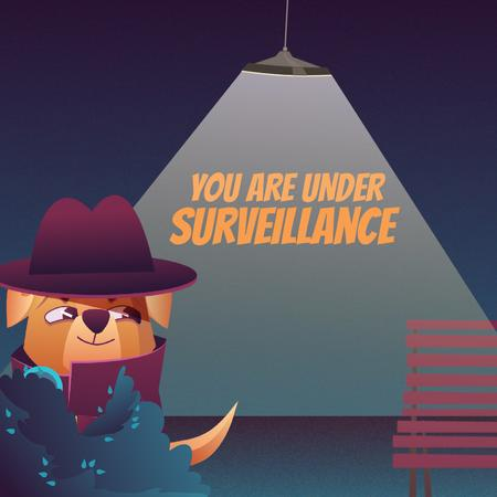 Surveillance Services with Cute Dog Detective Animated Post Tasarım Şablonu