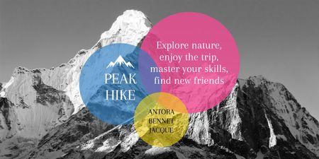 Plantilla de diseño de Hike Trip Announcement with Scenic Mountains Peaks Image