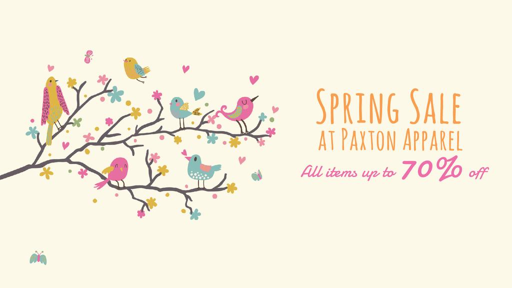 Spring Sale Birds Signing on Tree Branch — Создать дизайн