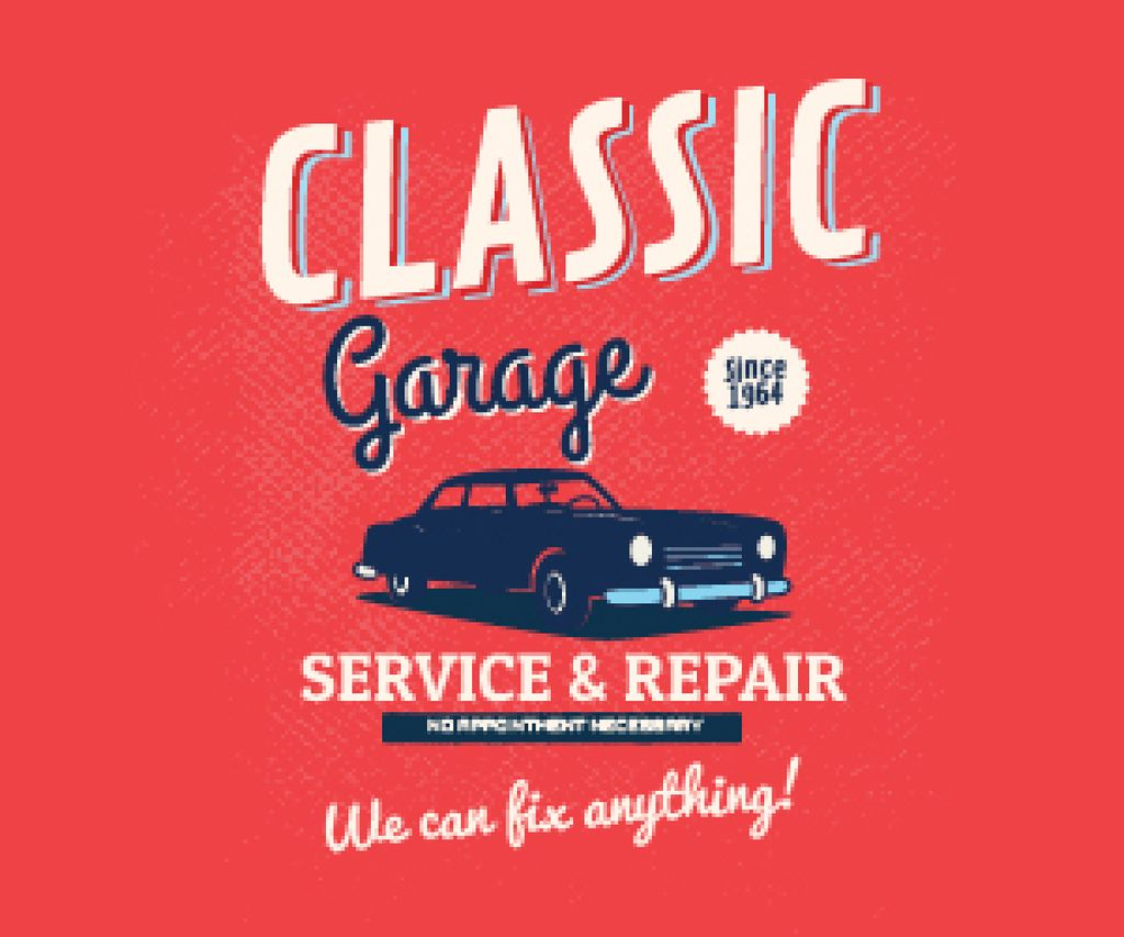 Garage Services Ad Vintage Car in Red —デザインを作成する