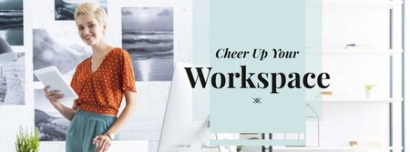 Smiling woman at her workplace Facebook cover Modelo de Design