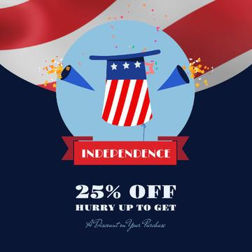 Independence Day Sale Hat and Fireworks | Square Video Template