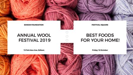 Plantilla de diseño de Knitting Festival Wool Yarn Skeins FB event cover