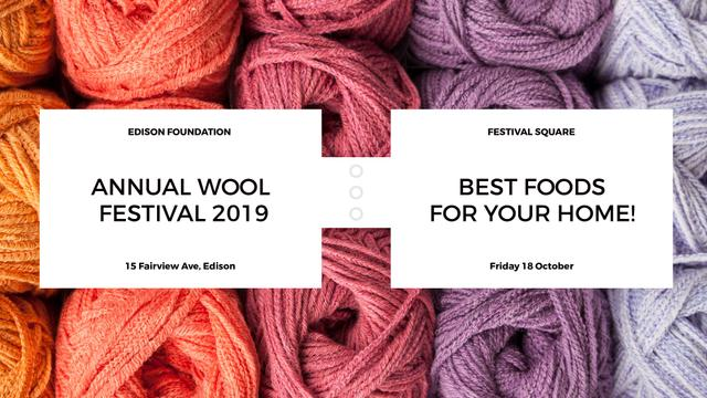 Knitting Festival Wool Yarn Skeins FB event cover – шаблон для дизайну