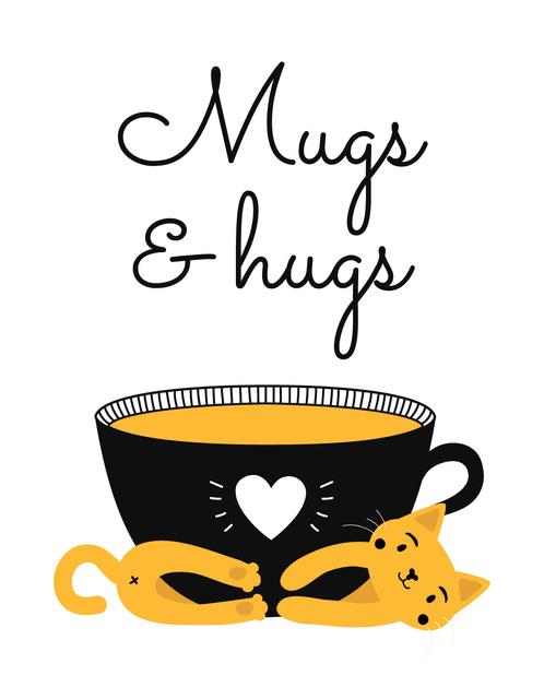 Ontwerpsjabloon van T-Shirt van Cute Cat with Black Mug
