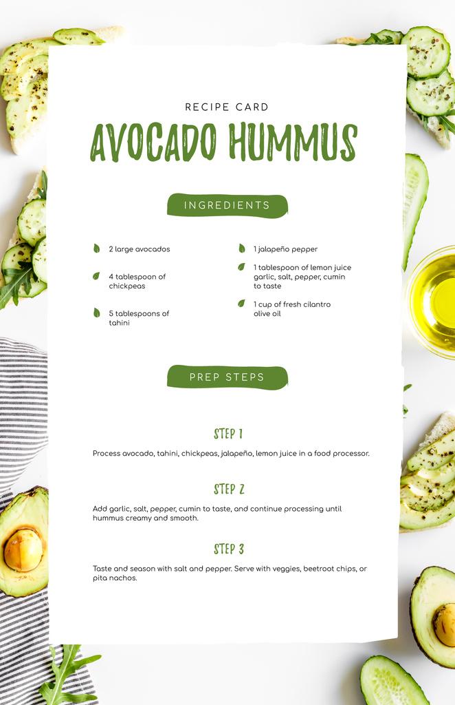 Plantilla de diseño de Avocado Hummus Cooking Process Recipe Card