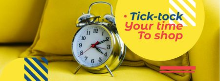 Plantilla de diseño de Sale announcement Alarm Clock in Yellow Facebook cover