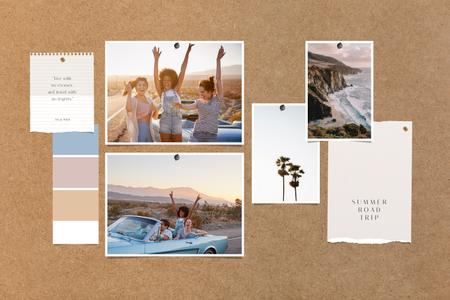 Ontwerpsjabloon van Mood Board van Young Girls having fun in Summer