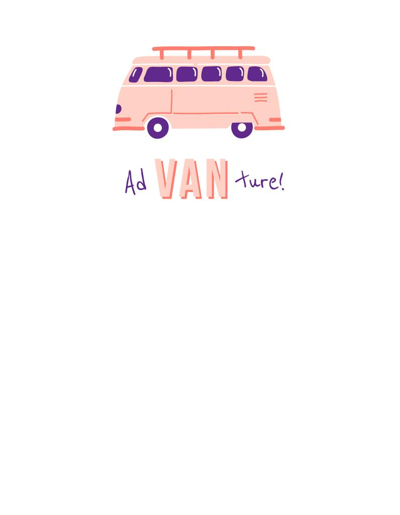 Travel Inspiration with Cute Pink Van — Modelo de projeto