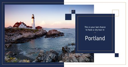 Portland city lighthouse Facebook ADデザインテンプレート