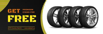 Car Salon Offer with Set of Car Tires