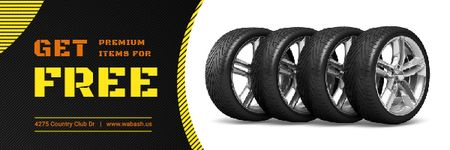 Ontwerpsjabloon van Email header van Car Salon Offer with Set of Car Tires