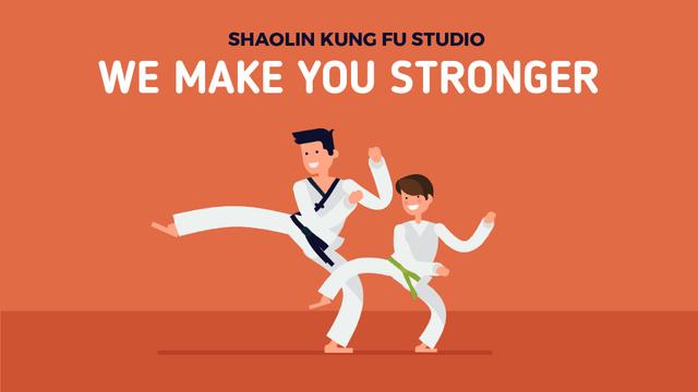 Plantilla de diseño de Martial Arts School Boy Training with Coach Full HD video