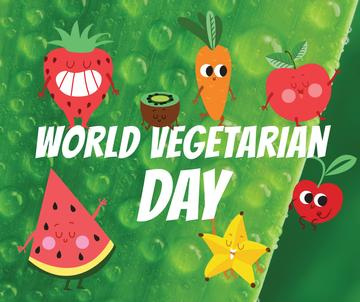 Vegetarian Day greeting with funny Fruits