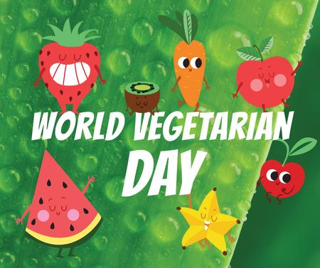 Plantilla de diseño de Vegetarian Day greeting with funny Fruits Facebook