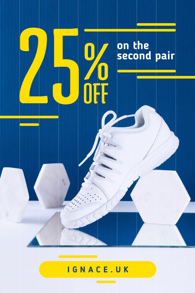 Sport Shoes Sale White Shoe on Blue | Tumblr Graphics Template — Modelo de projeto
