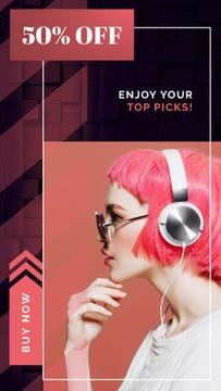Electronics Offer Woman in Headphones on Pink | Vertical Video Template