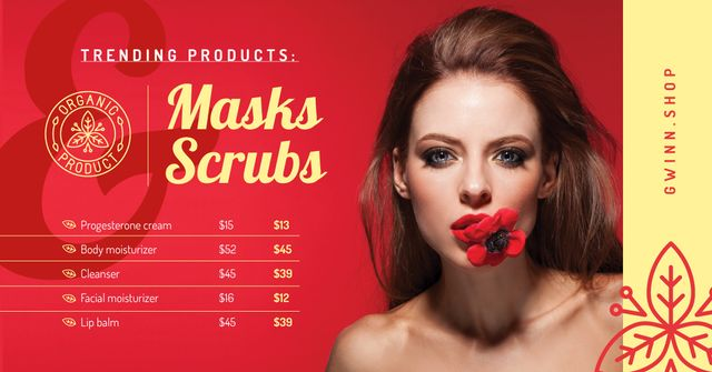 Beauty Ad Woman Red Flower in Mouth Facebook AD Design Template