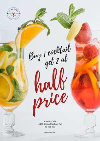 Half Price Offer with Cocktails in Glasses Posterデザインテンプレート