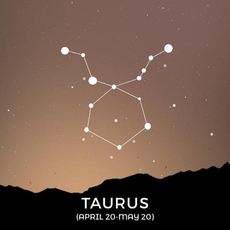Modèle de visuel Night sky with Taurus constellation - Animated Post