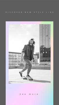 Fashion Ad with Stylish Man riding skateboard
