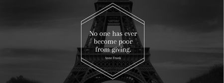 Citation about volunteer work with Eiffel Tower Facebook cover – шаблон для дизайну