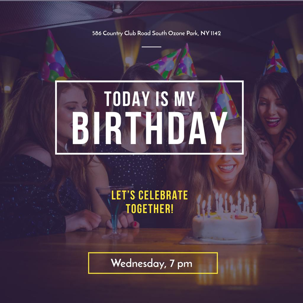 Birthday Invitation Girl blowing Candles on Cake — ein Design erstellen