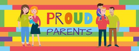 Template di design LGBT parents with children Facebook cover