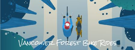 Man riding bike in forest with his dog Facebook Video cover Modelo de Design