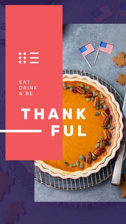 Thanksgiving with Baked pumpkin pie Instagram Story Modelo de Design